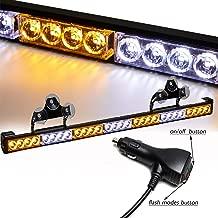 SMALLFATW 32 Inch 28 LED Emergency Warning Light Bar Flash Strobe Light Bar Universal Vehicles Trucks Traffic Advisor Light with Cigar Lighter and Suction Cups (Amber/White)