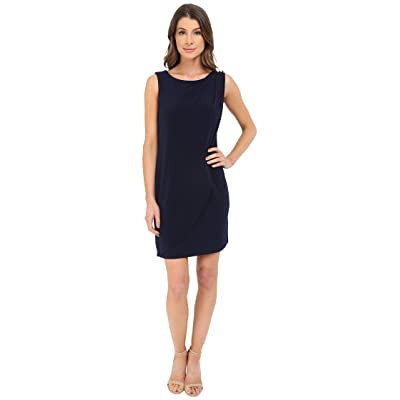Jessica Simpson Sleeveless Ity Dress with Front Drape (Navy) Women