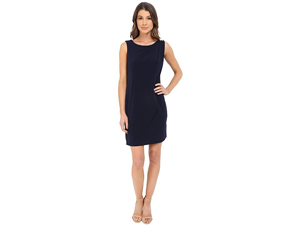 Jessica Simpson Sleeveless Ity Dress with Front Drape (Navy) Women