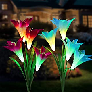 Tvird Solar Garden Stake Lights - 2 Pack Solarmart Solar Powered Lights with 8 Lily Flower, Multi-Color Changing LED Solar...
