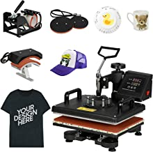 F2C Pro 5 in 1 Combo Heat Press Machine T-Shirt Hat Cap Mug Plate Digital Transfer Sublimation Machine New Black (5 in 1 S...