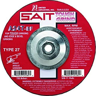 United Abrasives- SAIT 20165 Type 27 Grinding Wheel A24T, 4-1/2-Inch by 1/4-Inch by 5/8-11-Inch, 10-Pack