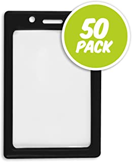 50 Pack - Vertical Color Frame Badge Holder -Black