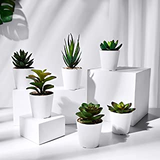 HapeeFun Succulentes Artificielles, 6 pcs Plante Artificielle Interieur, Fausse Plantes avec Pot, Plante Artificielle Deco...