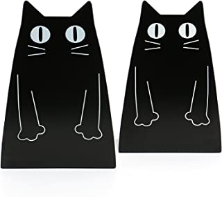 Tebery chat serre-livres en métal,noir
