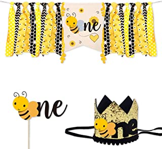 BCHOCKS Bumble Bee Birthday Decorations, Bee First Decorations 1st Birthday Supplies- One High Chair Banner Crown Birthday Hat One Cake Topper Highchair for Boy Girl Baby Shower Birthday Decor