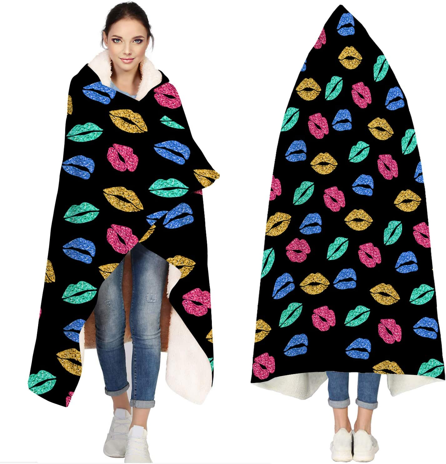 Hooded Blankets for Adults Sexy Lips Towel Black Beach Bath At the price of surprise H El Paso Mall -