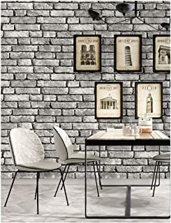 HaokHome 130105 Vintage Faux Brick Textured Wallpaper Roll Gray/Black/White 3D Vinyl Home Kitchen Bathroom Decoration 20.8