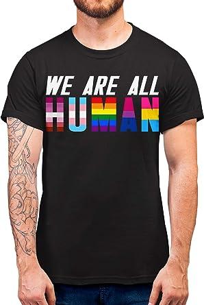 FunkyShirt Camiseta con Texto en inglés We Are All Human Gay Pride