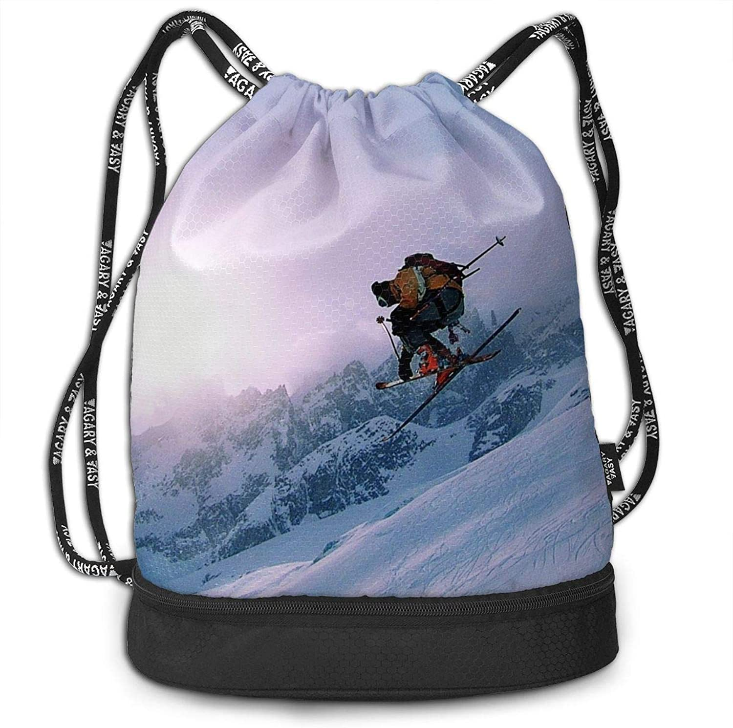 Gymsack Skiing Mountains Jump Print Drawstring Bags  Simple School String Bag