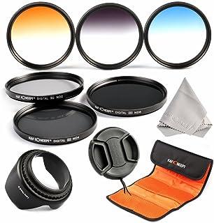 K&F Concept 67mm 6 6 piezas Filtro Kit Delgado Filtro Kit(ND2+ND4+ND8+ Graduado Color Azul Naranja Gris) para CANON Rebel T5i T4i T3i T2i EOS 700D 650D 600D 550D 5DS 7D2 y Nikon D7100 D5000 D3300 D700 D750 D300S Cámaras