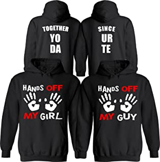 Hands Off My Girl & Guy [Personalized] Together Since [Your Date] - Matching Couple Hoodies - His and Her Love Sweaters