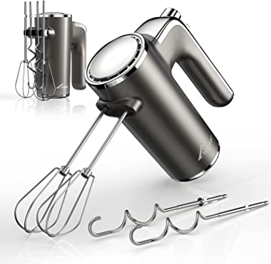 Elegear Lightweight Electric Hand Mixer, 250W 5-Speed mixer electric handheld with 4 Stainless Steel Accessories (2 Beaters &