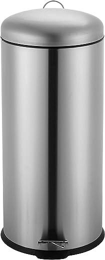 Ribelli Mülleimer aus Edelstahl – Mülltrennung Treteimer Abfalleimer Müllbehälter Papierkorb Mülltonne, rund, 30 Liter mit Inneneimer – Soft…