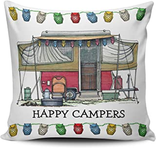 Fanaing Coloured Cute Rv Vintage Popup Camper Travel Trailer Pillowcase Home Sofa Decorative 18X18 Inch Square Throw Pillow Case Decor Cushion Covers One-Side Printed