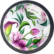 Ladeknoppen Ronde Kast Handgrepen Pull voor Thuiskantoor Keuken Dressoir Garderobe Decorate,Botanische Illustratie Tropisch