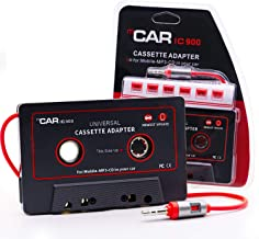 Car Cassette Aux Adapter, Audio Stereo Receiver, 3.5mm Universal Audio Cable Tape Adapter for Classic Cars, Compatible with Phone, MP3 ect. Classic Dark Red and Black
