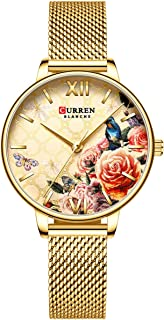 Lixada 9060 Luxury Casual Business Quartz Women Watch Flower Dial Elegant Exquisite Lady Wrist Watch 3ATM Waterproof Clock Wristwatch for Female Ladies with Stainless Steel Mesh Strap Band