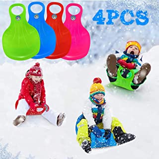 Snow Sled,4X Snow Racers for Sledding Plastic Skis Thicken Sledge Ski Glider Slider Snowboard with Handle Play on Ice Sno...