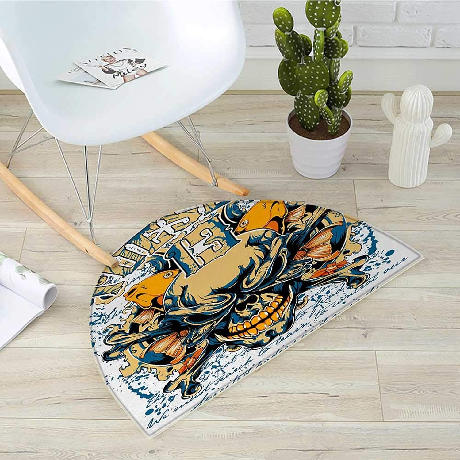 Skull Half Round Door mats Scary Skeleton Head Fishes Tuesday Thirteen Unlucky Day color Splashes Bathroom Mat H 31.5  xD 47.2  bluee Pale Yellow orange