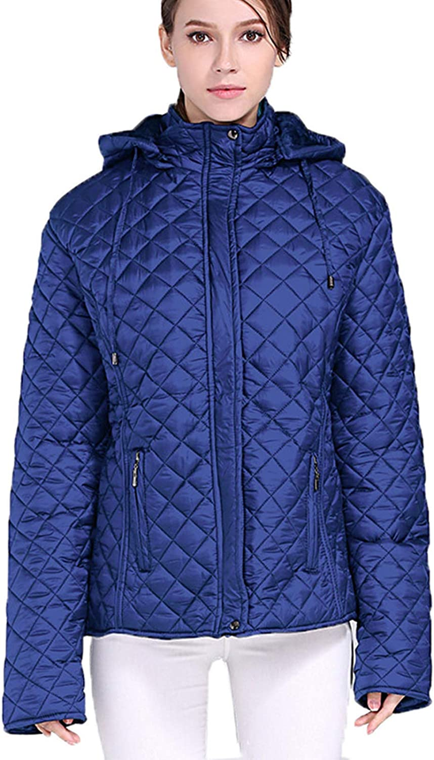 Women Winter Warm Hooded Quilted Jacket Down Puffer Jackets