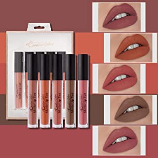 Mimore Líquido Pintalabios Traje,kit de maquillaje de Glaseado de labios aterciopelado de 5 colores Impermeable Duradero B...