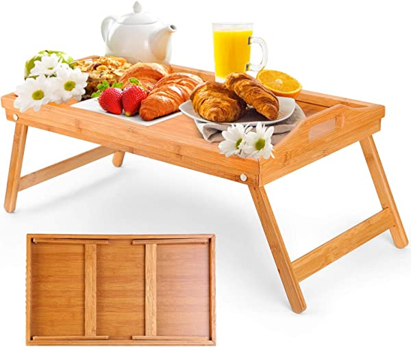Moclever Breakfast Tray Table With Folding Legs Serving Tray Bamboo Dinner Trays Tea Tray Bar Tray Bed Trays For Eating Or Any Food Tray Good For Parties Reading Laptop Working Or Bed Tray