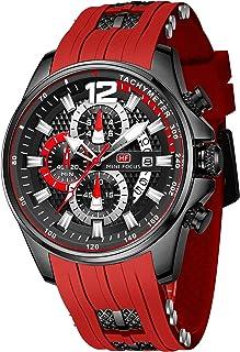 ساعة للرجال رياضية كاجوال مضادة للماء ومتعددة الوظائف كرونوغراف كوارتز ساعة كوارتز أنيقة التقويم مع حزام سيليكون (MF0350G.04)
