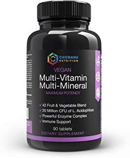 Whole Food Mega Multivitamin & Mineral Complex with 42 Fruit & Veggies Blend, Probiotic, Enzymes, Greens & ...