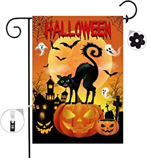 Bonsai Tree Halloween Decorative Garden Flag Sets, Double Sided Jack O Lantern Pumpkins Yard Flags, Spooky Black Cat Ghosts Banners with a Rubber Stopper Stop and a Anti-Wind Clip,12