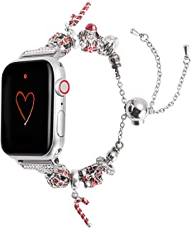 Wearlizer Compatible with Apple Watch Band 42mm 44mm Womens Christmas Elements for iWatch Handmade Wristband Bracelet,Santa Claus,Christmas-Crutch-Gift Box Metal Replacement Strap Series 5 4 3 2 1