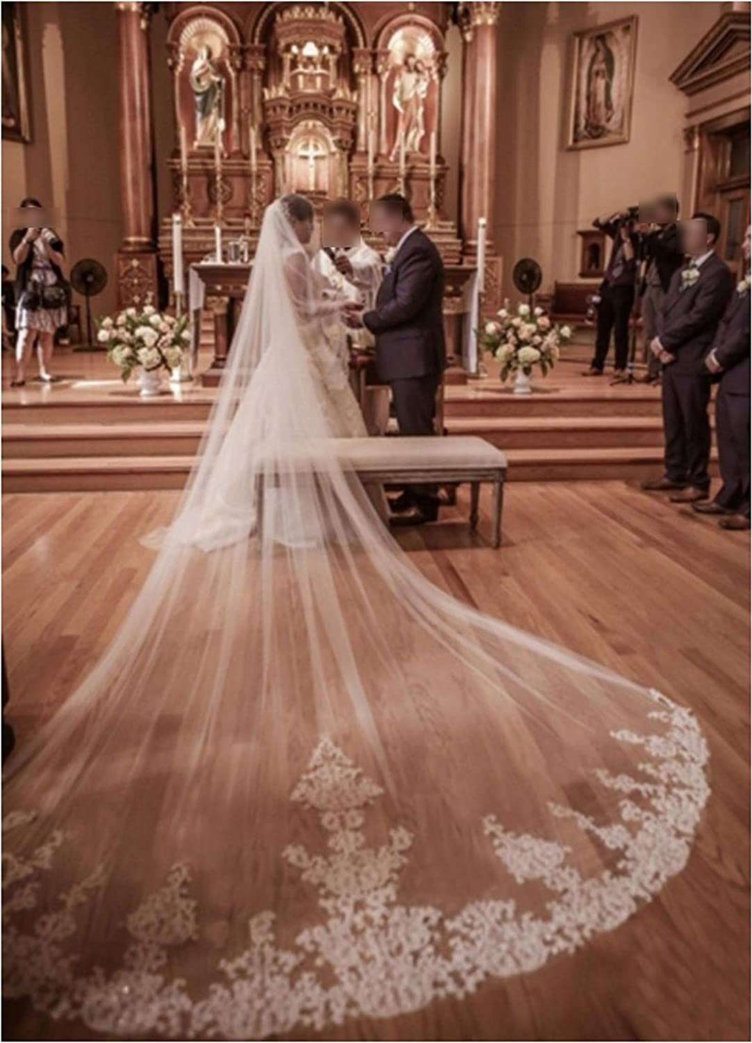 2019 New 4 Meters One Layer Lace Tulle Long Wedding Veil New White Ivory 4 M Bridal Veil with Comb Velos De Novia,White
