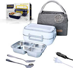 Electric Lunch Box Food Heater 3 in 1, 1.5L Portable Food Warmer Microwave 12V 24V 110V for Car Truck Home Work Leak-proof Heating Lunchbox 304 Stainless Steel Container with Fork Spoon & Carry Bag
