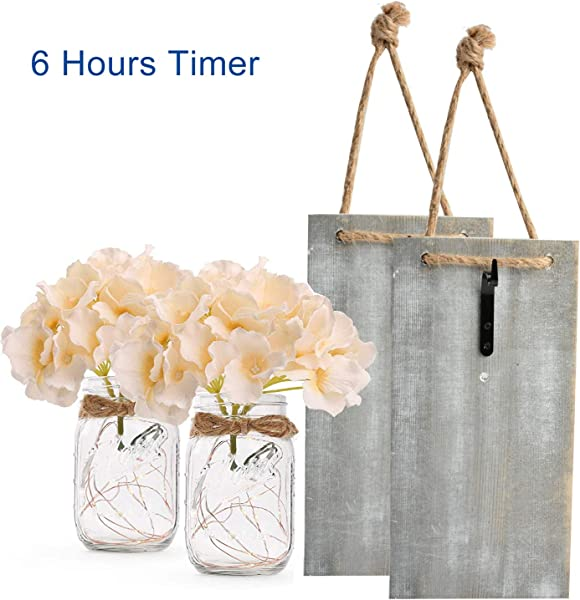 Mason Jar Sconces For Home Decor Rustic Wall Sconces With LED Fairy Lights And Silk Hydrangea Flowers 6 Hour Timer Farmhouse Home Wall Decoration Set Of 2