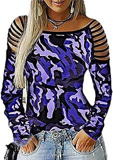 Macondoo Women's Plus Size Top Print Camo Tee Long Sleeve T-Shirt