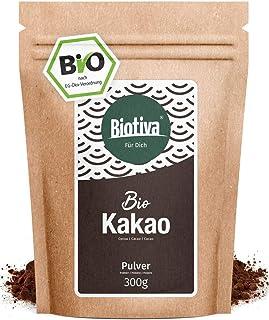 Polvo de cacao orgánico 300 g - polvo de cacao altamente desengrasado 100% puro (11% grasa) - sin azúcar - sin aditivos - la más alta calidad Biotiva® - llenado y verificado en Alemania (DE-ÖKO-005)