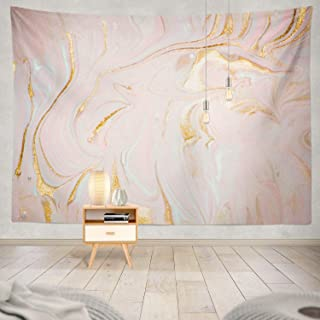 Soopat Tapestry Polyester Fabric Fantasy Marble Gold Pastel Watercolor Ink Glitter Galaxy Liquid Flow Golden Wall Hanging Tapestry Decorations for Bedroom Living Room Dorm 80X60 inch