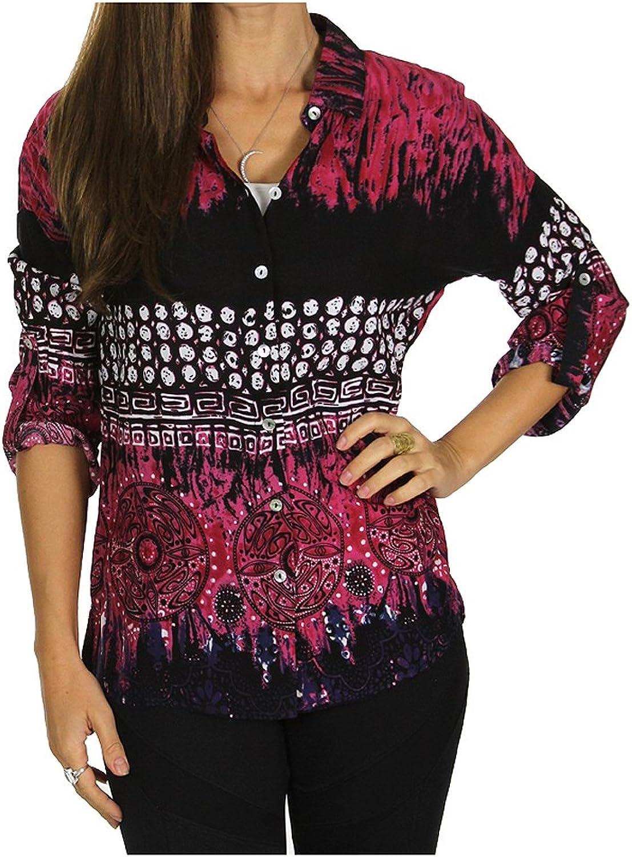 Sublime Women's Rollup LongSleeve Boho Print Shirt Button Front Cotton Blouse