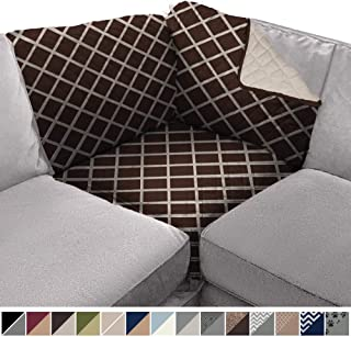 Sofa Shield Original Patent Pending Sectional Corner, 30 Inchx30 Inch Slipcover, 2 Inch Strap Hook, Washable Furniture Protector, Slip Cover for Kids Pets, Sectional Corner, Diamond Chocolate Beige