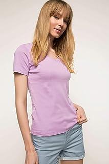 DeFacto V Yaka Basic T-shirt Mor XS