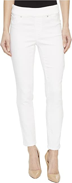 "28"" Knit Denim Pull-On Ankle Jeggings in White"