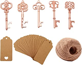 Yansanido Pack of 50 Rose Gold Skeleton Key Bottle Opener with Escort Tag Card and Twine for Wedding Favors Baby Shower Return Gifts for Guests Party Favors (mixed 5 styles Rose Gold)