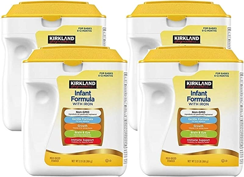 Kirkland Signature Non GMO Gentle Infant Formula With Iron 34oz 4 Pack