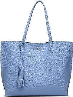 e8ac6312585ba0 Women's Soft Leather Tote Shoulder Bag from Dreubea, Big Capacity Tassel  Handbag