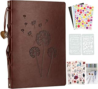 YILEEY Album Photos en Cuir, 28x21cm Traditionnel Vintage Scrapbook 60 Pages Noires Rechargeable Livre d'or, DIY Scrapbook...
