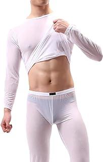 qianqianq Men's Sleepwear Perspective Nightwear Loungewear Pajama Set