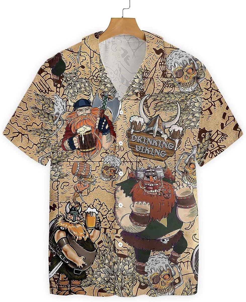 HYPERFAVOR Funny Viking Shirts for Men -Viking Beer Shirt- Casual Short Sleeve Viking Mens Hawaiian Shirt