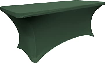 """LA Linen Spandex Fitted Stretchable Elastic Tablecloth, Green Hunter, 96"""" x 48"""" x 30"""""""