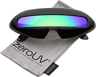 Futuristic Costume Single Shield Colored Mirror Lens Novelty Wrap Sunglasses 70mm