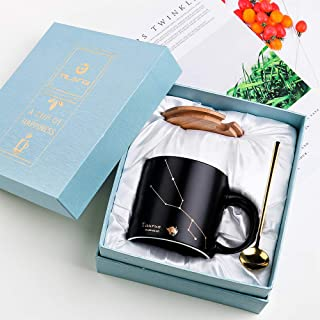 Tilany Ceramic Coffee Mug With Golden Spoon & Bamboo Lid - Black Tea Mugs With Constellation Design - Large Porcelain Cups - Coffee Pottery Cup With Zodiac Sign - 15oz Cup Gift Set (Taurus)